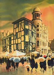 Oyster Bar, Manchester by Peter J Rodgers - Original Painting on Paper sized 20x28 inches. Available from Whitewall Galleries